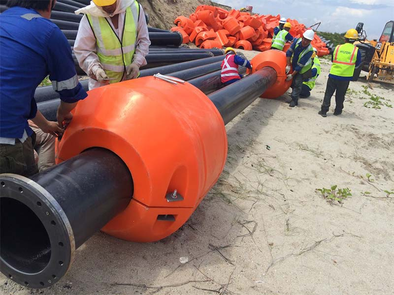 Installation UHMWPE Pipes, Pipe Floats and Rubber Hoses in Singapore Successfully